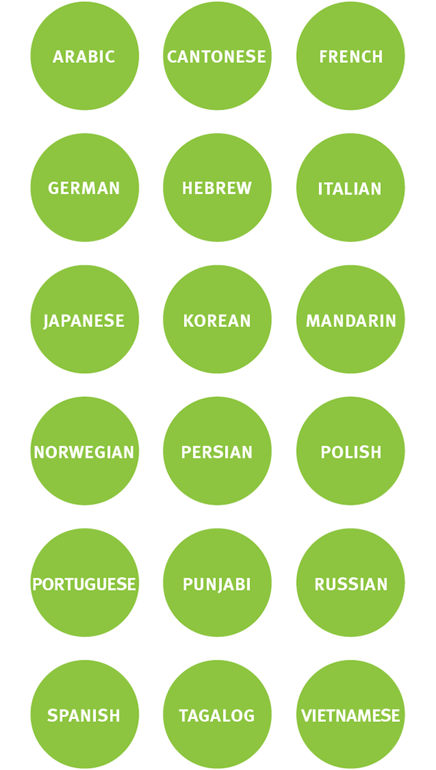 18 languages available