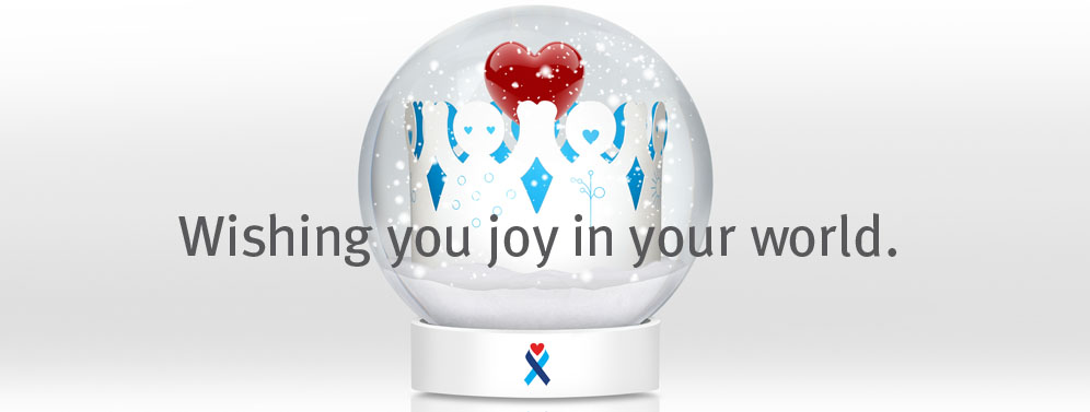 wishing joy snow ball globe with red heart
