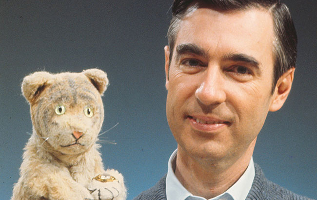 Mr. Rogers with Daniel Tiger puppet